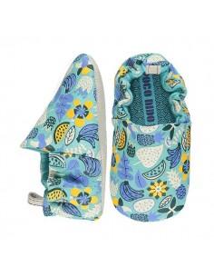 Poco Nido Vegano Jungle Flowers Turquoise Mini Shoes- FW21