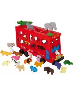 Autobús de animales ABC. Animales de la granja, de la selva y del bosque