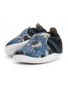 500062 Xplorer Aktiv Habitat Grey + Blue Zapato primeros pasos de la marca Bobux.