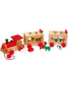 Tren de madera con animales encajables