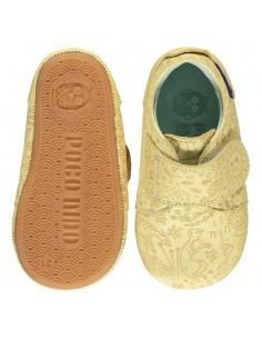 Zapato amarillo de piel con suela Poconido