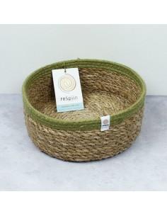 Cesta Yute+Seagrass Mediana (Natural/verde)