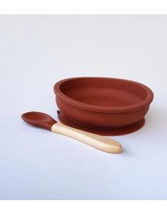 Cuchara para bebé de silicona y madera