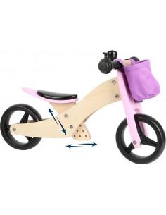Triciclo y bicicleta de madera (2 en 1) ROSA