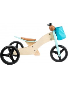 Triciclo y bicicleta de madera (2 en 1) TURQUESA