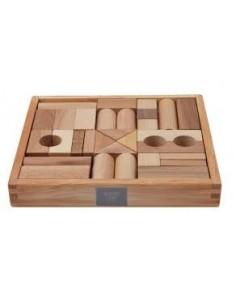 Caja de bloques construcción (Natural) 63 piezas