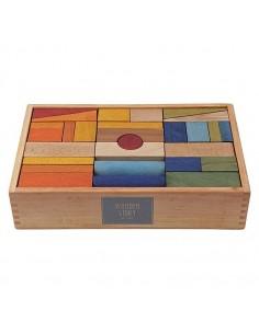 Caja de bloques de construcción (RAINBOW) 63 piezas