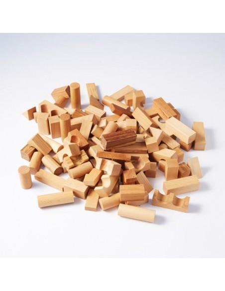 Saco Bloques construcción (naturales) 100 piezas