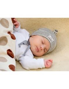 Gorro bebé lana/seda NUDO gris PICKAPOOH